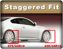 Find the right tires if you have different front and rear tire sizes.
